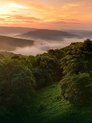 Arkansas' Ozark mountains at sunset