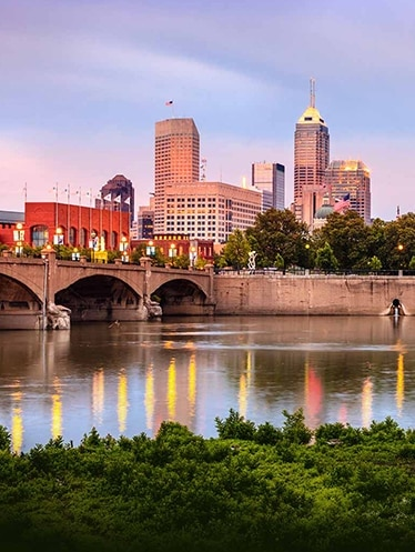 Indianapolis cityscape overlooking water