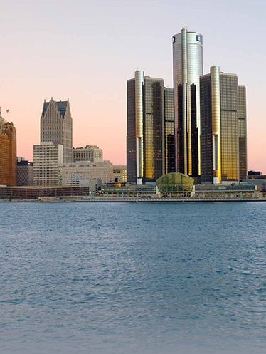 Detroit International Riverfront at sunset