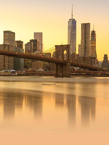New York City skyline overlooking Brooklyn Bridge
