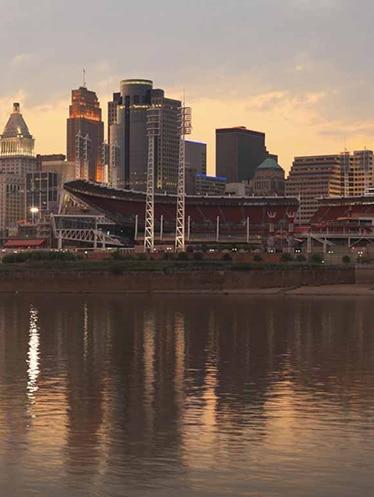 Cincinnati skyline overlooking Ohio River