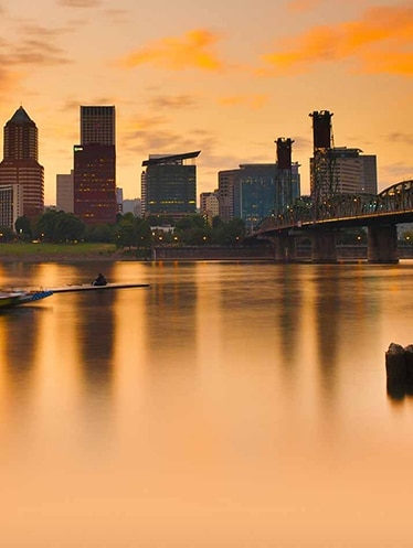 Portland skyline overlooking the Willamette River