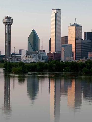 Dallas Texas skyline overlooking Trinity River