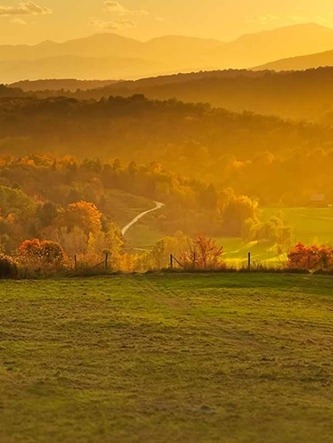 Valley in Vermont at sunrise