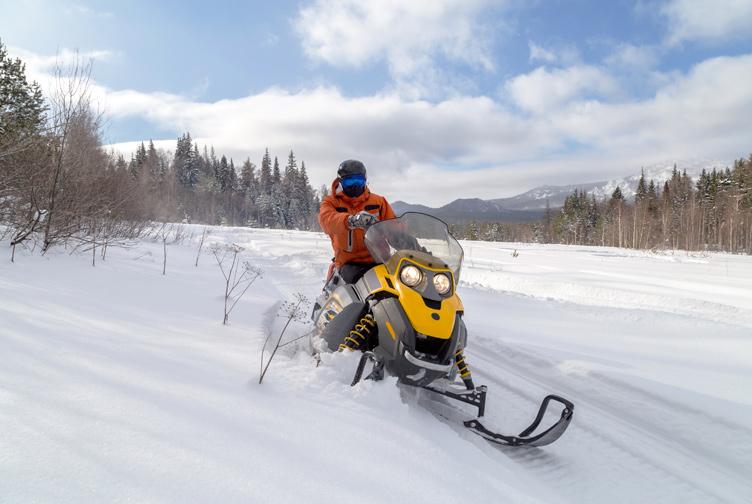 Snowmobile rider on a scenic snow trail.